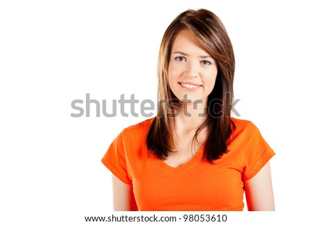 cute teen girl half length portrait on white background - stock photo