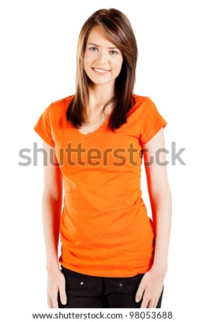 cute teen girl over white background - stock photo