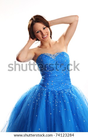 Cute Teen Wearing Blue Prom Dress Stock Photo (Royalty Free ...