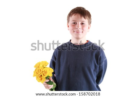 cute teen with flowers on a white background - stock photo