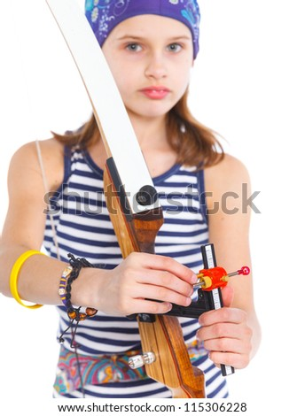 Cute teenage girl doing archery. Isolated on white background. Focus on the Archery - stock photo