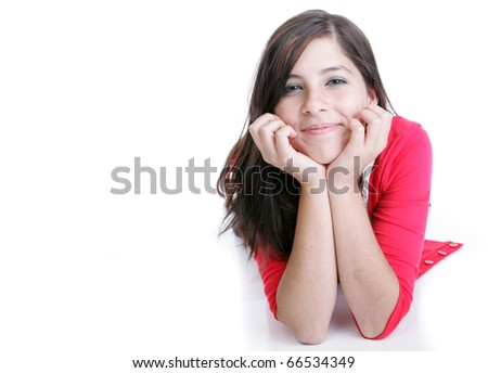 Cute teenage girl posing for the camera - stock photo