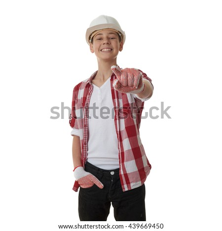 Cute teenager boy in red checkered shirt and building helmet over white isolated background, half body, constructing concept - stock photo