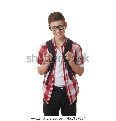 Cute teenager boy in red checkered shirt and glasses with school bag over white isolated background, half body, as school, education concept - stock photo