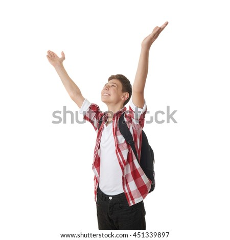 Cute teenager boy in red checkered shirt with school bag, hands up over white isolated background, half body, as school, education, freeedom concept