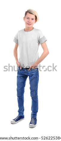 Cute teenager boy on white background