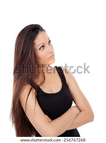 Cute teenager girl with long hair looking up isolated on a white background - stock photo