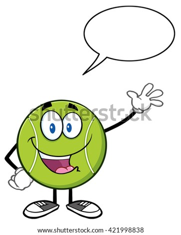 Cute Tennis Ball Cartoon Character Waving With Speech Bubble. Raster Illustration Isolated On White - stock photo