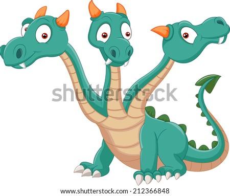 Cute three headed dragon - stock photo