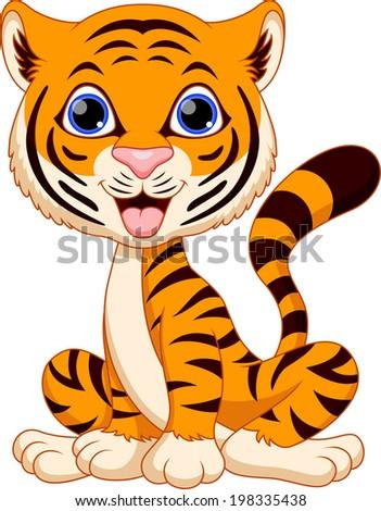 Cute a baby tiger cartoon is smiling Vector  Premium Download