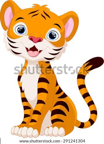 Cute tiger cartoon sitting - stock photo