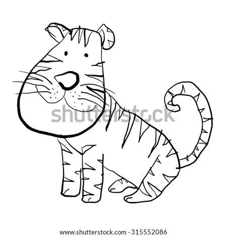 Cute Tiger Line Art