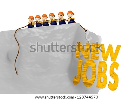 cute tiny 3d man pull up new jobs for the construction site - stock photo