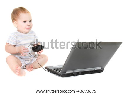 cute toddler with laptop over white