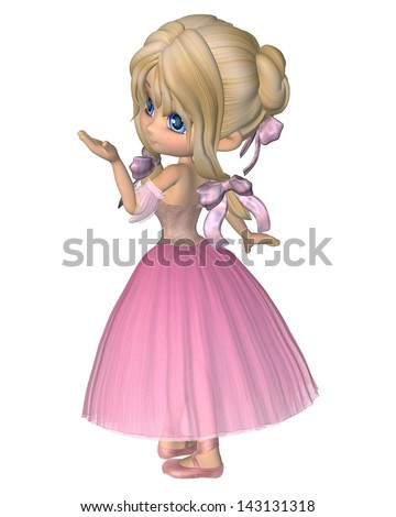 Cute toon ballerina wearing a pink tutu with a long skirt in the Romantic ballet style, 3d digitally rendered illustration - stock photo