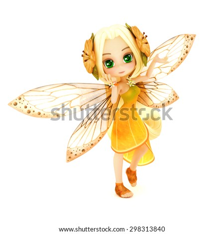 Cute toon fairy wearing orange flower dress with flowers in her hair posing on a white isolated background.  Part of a little fairy series. - stock photo