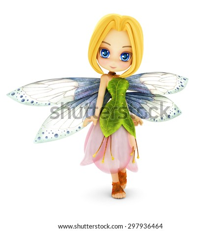 Cute toon fairy with wings smiling on a white isolated background.  Part of a little fairy series. - stock photo