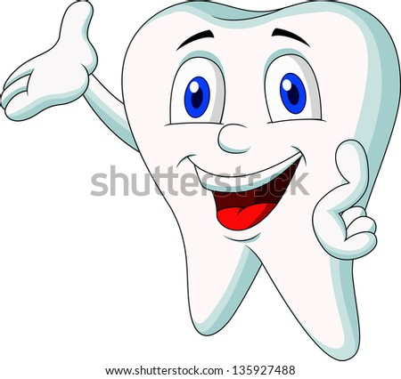 Cute tooth cartoon character presenting - stock photo