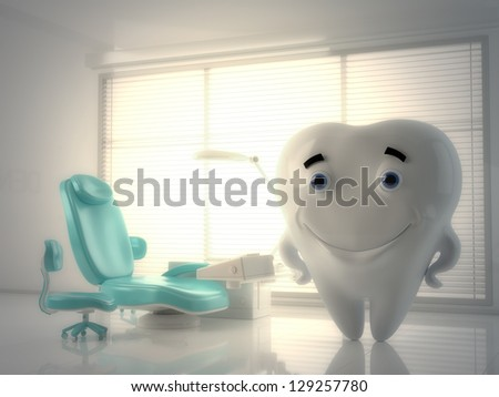 Cute tooth doctor in bright glossy dentist cabinet. 3d render / Smiling cartoon tooth - stock photo
