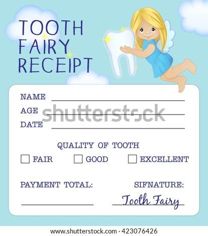 Cute Tooth Fairy Receipt Certificate Fun Stock Illustration