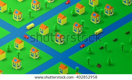 Cute Town Illustration. Isometric view. 3D Illustration - stock photo