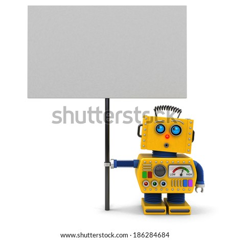 Cute toy robot holding a big sign looking upwards over white background - stock photo