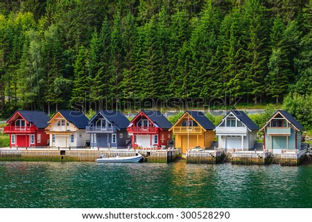 Cute traditional houses in Sognefjord, Norway. - stock photo