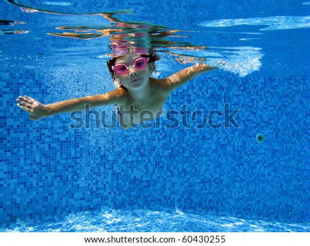 Cute underwater kid