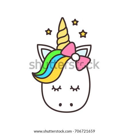 cute unicorn cartoon character illustration design stock