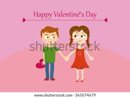 Cute Valentines Couple Girl Boy Happy Stock Illustration 365074679 ...