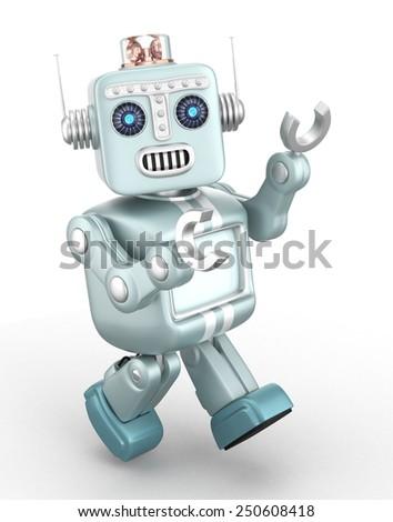 Cute vintage robot enjoying dancing on white background. - stock photo