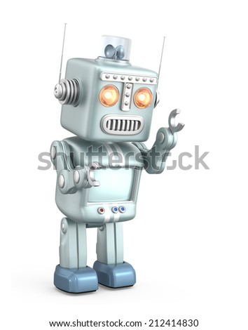 Cute vintage robot isolated on white background - stock photo