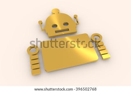 Cute vintage robot. Robotics industry relative image. 3D rendering. Metallic material - stock photo