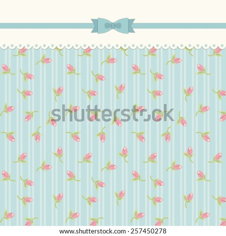 Cute vintage shabby chic background with roses ideal for wedding, bridal or baby shower invitation, album cover, retro cards or wallpapers - stock photo
