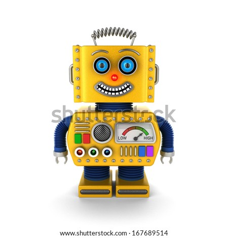 Cute vintage toy robot over white background smiling happily - stock photo