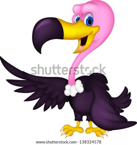 cute Vulture cartoon - stock photo