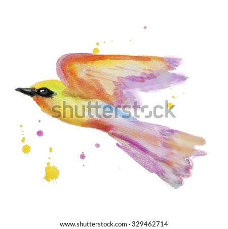 Cute watercolor birds high resolution for your design