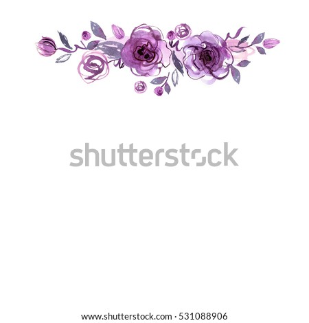 Cute Watercolor Hand Painted Flower Frame Background With Purple Roses Invitation Wedding Card