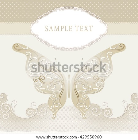 Cute wedding invitation card with vintage ornament frame, butterfly