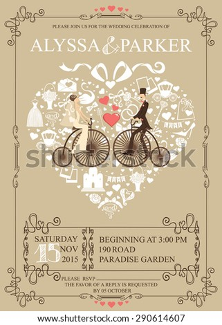 Cute Wedding invitation Design template.Vintage.Composition in the shape of  heart with Bride,groom, retro bicycle,wedding items,swirling frame. Retro illustration