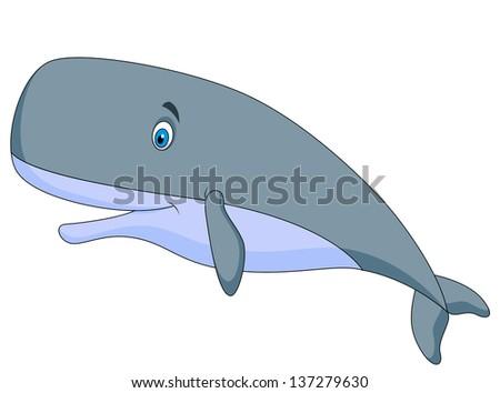 Cute whale cartoon - stock photo