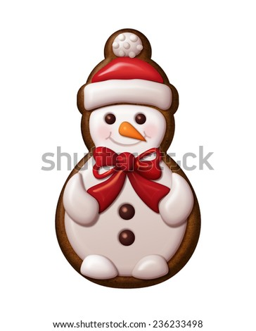 cute winter snowman illustration, Christmas gingerbread cookie decorated with colorful icing - stock photo