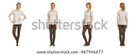 Cute woman in brown footless tights isolated on white