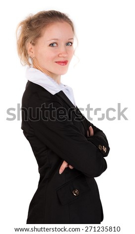 Cute woman in business suit standing  with crosswised arms  on white background