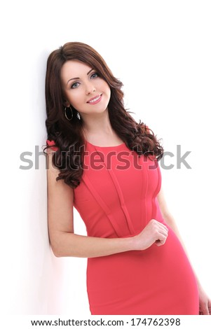 Cute woman in red dress