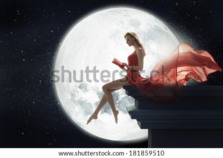 Cute woman over full moon background - stock photo