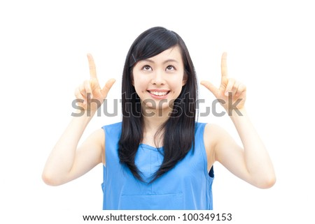 Cute woman pointing copy space, isolated on white background.