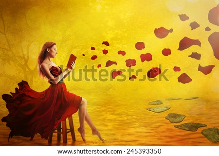 Cute woman reading book, magic sunset fall background. Petals flying over lake, surreal ideal relaxing place. Dreamy nature landscape, vintage screen saver artistic illustration. Peace of mind concept - stock photo