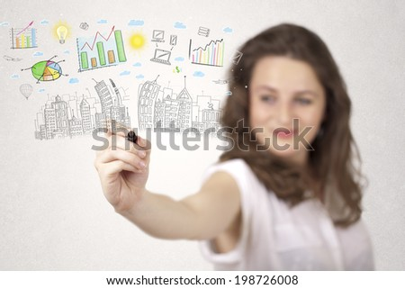 Cute woman sketching city and graph icons and symbols - stock photo