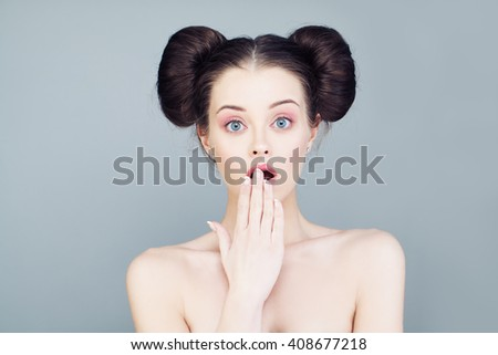 Cute Woman with Open Mouth. Surprise - stock photo
